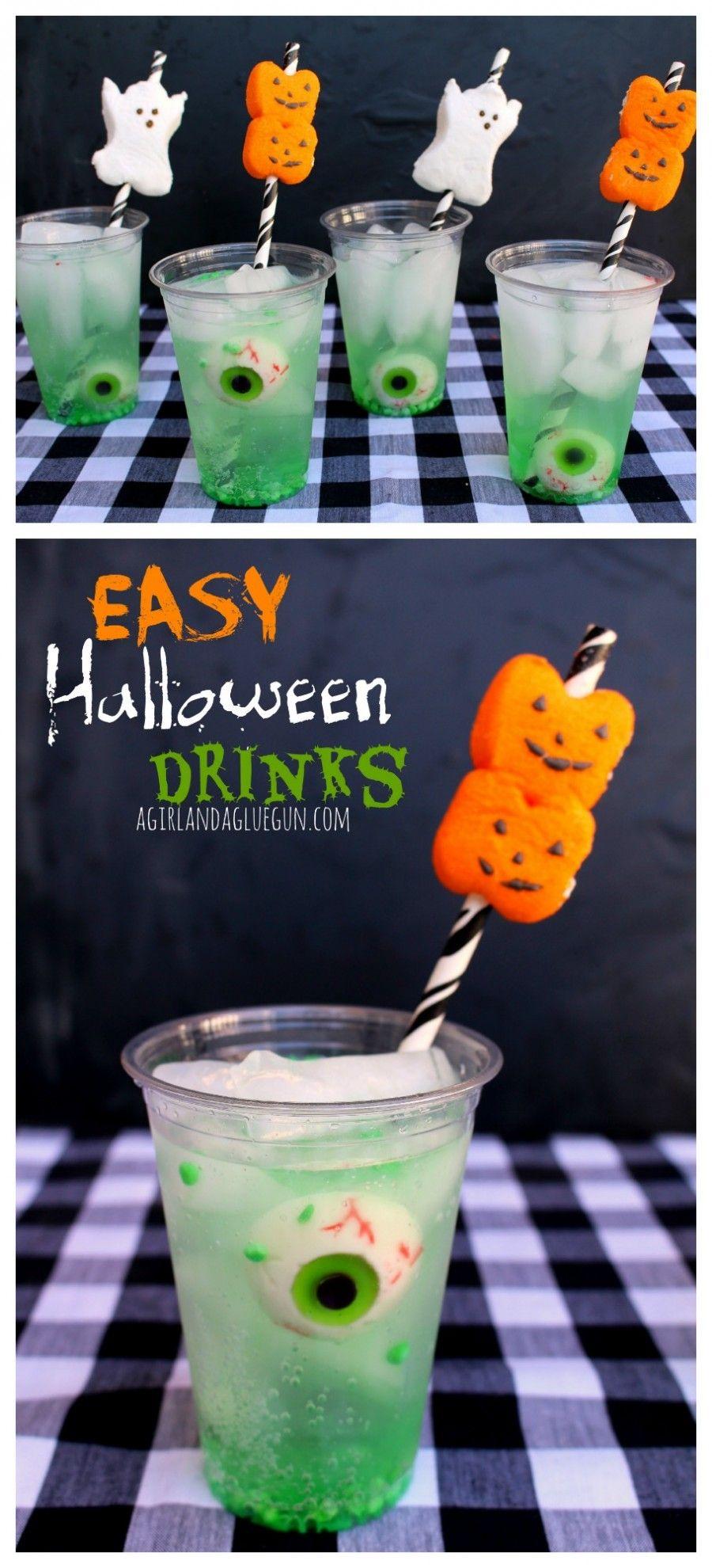 easy halloween drink with peep straws | Girls, Drinks and Glue guns