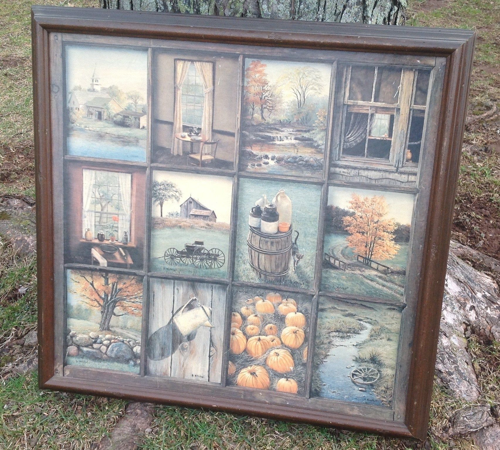 Vintage Window Pane Art B Mitchell Combination Painting Etsy Window Pane Art Framed Art Vintage Windows