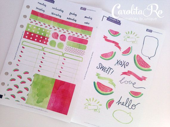 Silhouette cameo or silhouette portrait print cut files watermelon watercolor planner stickers for vertical layout i made these