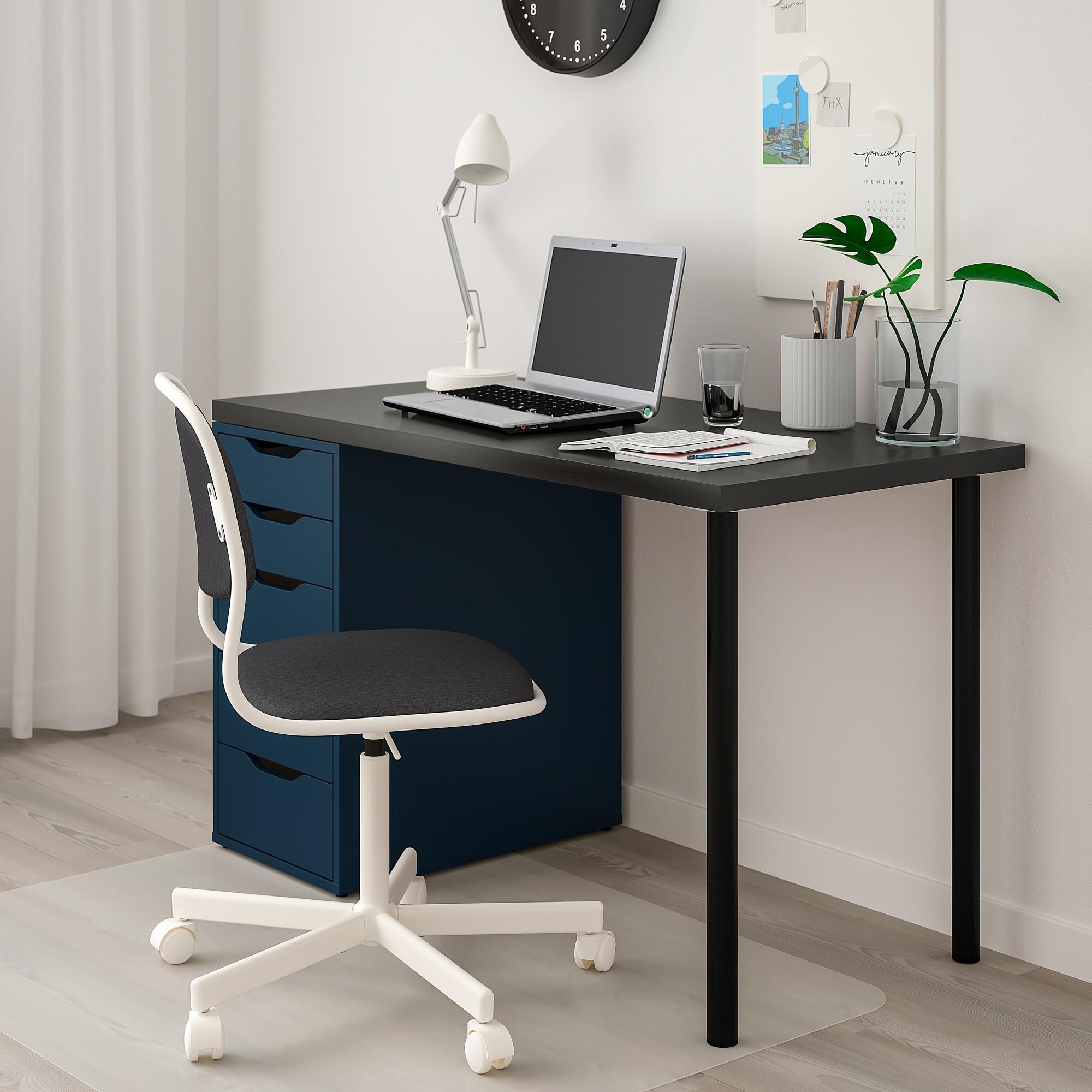 Linnmon Alex Table Black Brown Blue Ikea White Wood Desk Ikea Home