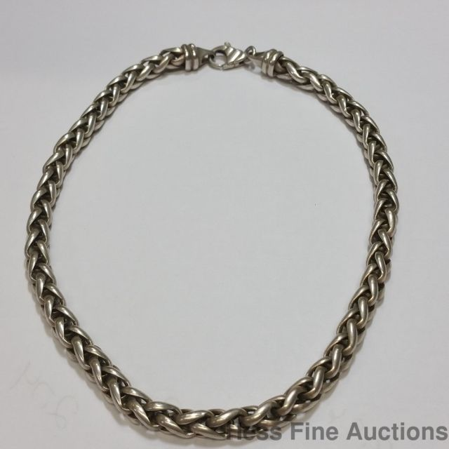Vintage Sterling Silver Wheat Rope Necklace Chain 16 Inches 43 Grams 10mm Wide Chain Chains Necklace Necklace Wire Bangle Bracelets
