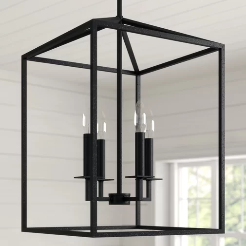 Odie 4 Light Lantern Rectangle Chandelier Rectangle