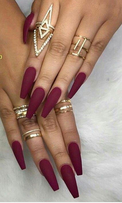 The Fall Is Coming Aka Maroon Nails Season Hair Love Style Beautiful Makeup Skincare Nails Beauty Eyem Maroon Nails Coffin Nails Designs Autumn Nails