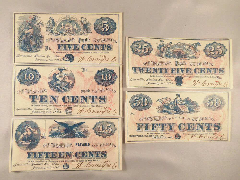 1863 GREENVILLE, CLARION CO., PA CENT COUPONS 5, 10, 15