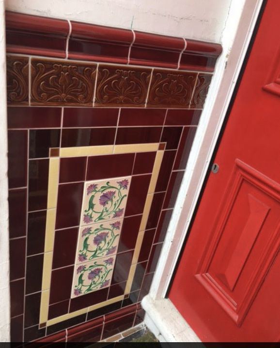 Exteriorhouse Wall Design: Porch Tiles - Tube Lined Decorative Panel In 2020