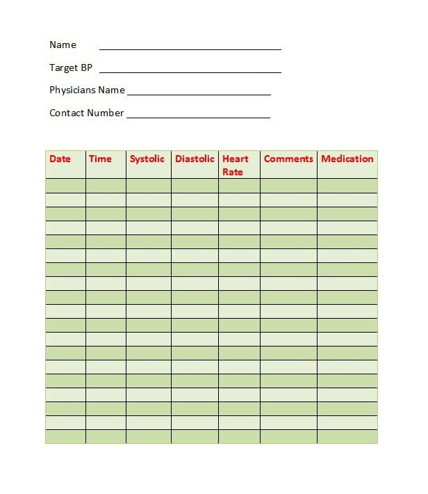 Blood Pressure Log Template 28 Health Blood Pressure Blood