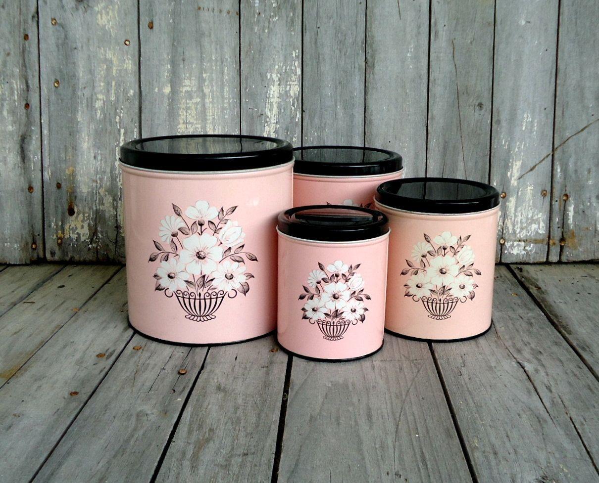 Vintage Pink Canister Set Black White Fl Decoware