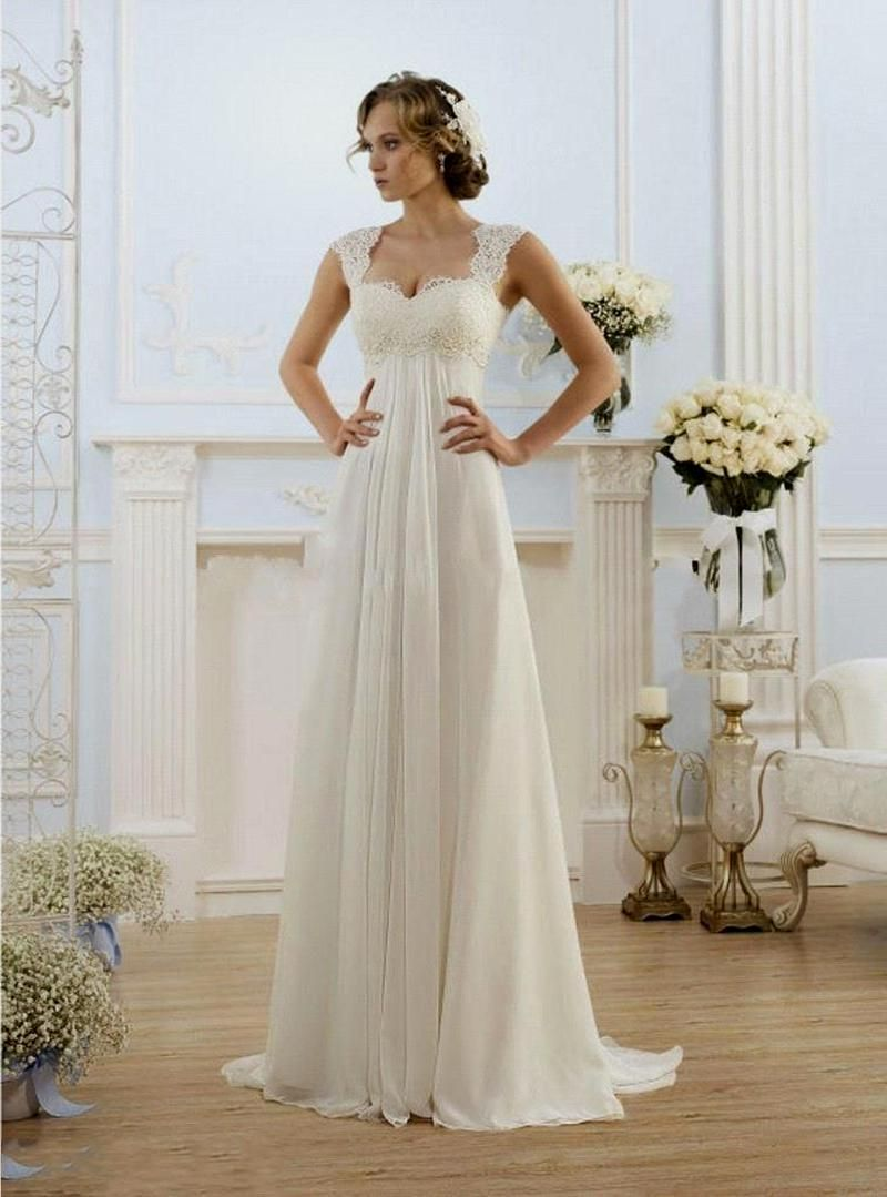 Chiffon & Lace Empire Waist Silhouette Wedding Dress | Beach Wedding ...