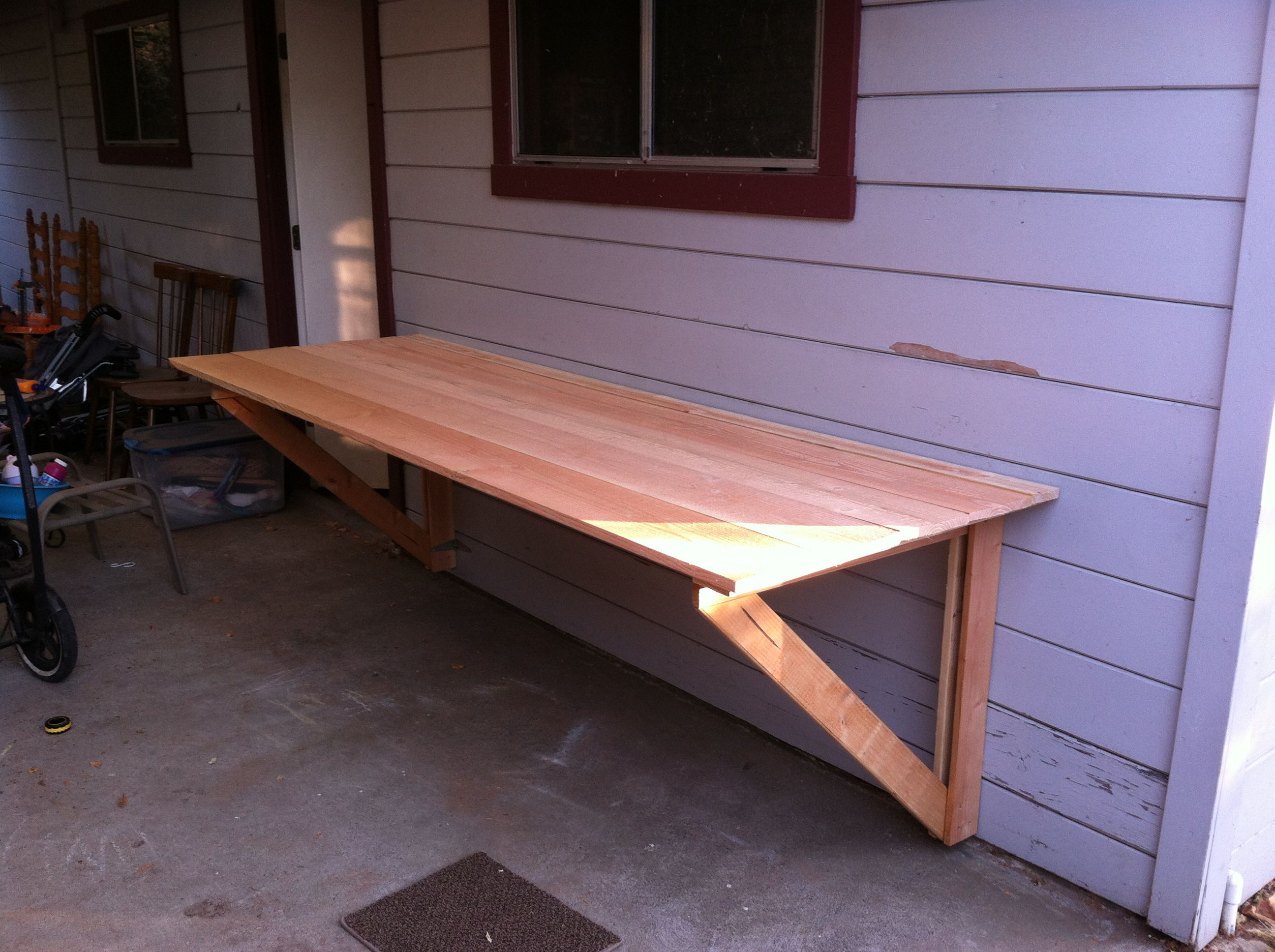 Diy wood folding table - Diy Table Top Legs Fold Under And Top Folds Flush Against Wall Total Thickness