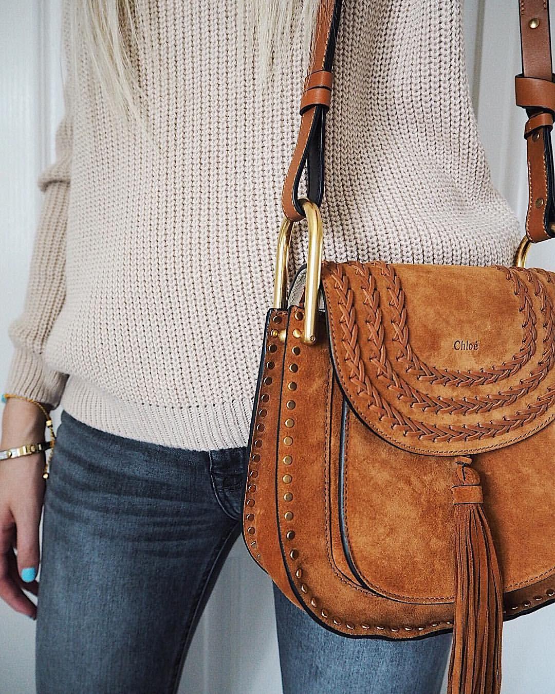 c47b3e86e Instagram @emilyjanehardy Chloe Hudson bag, tan handbag, Chloe fashion, miss  selfridge knitted jumper, grey mango denim, fashion
