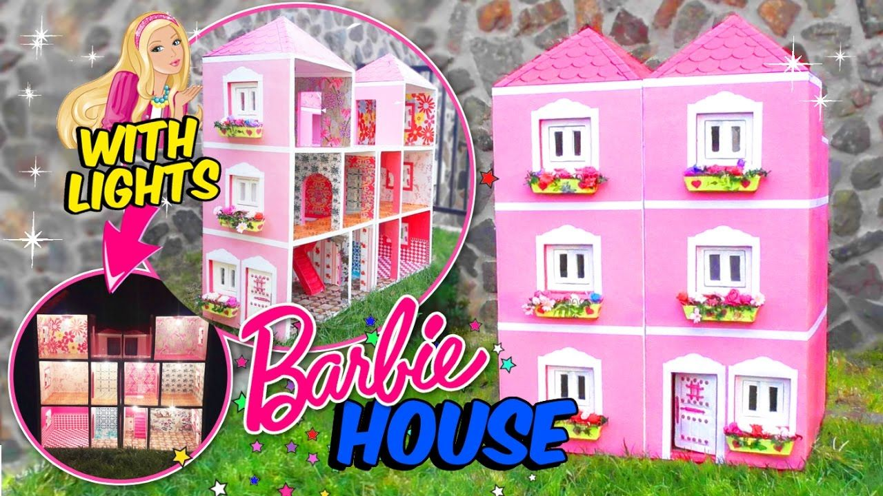 Barbie Dollhouse Made With Cardboard Box With Lights Crafts For