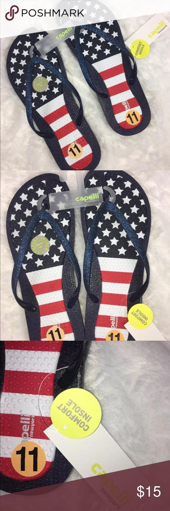 d9e1f2d2e NWT CAPPELLI American Flag Comfort Flip Flops NWT!! ~Capelli ~Women s Flip  Flops
