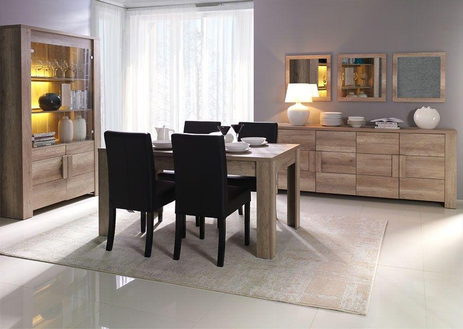 Salle à manger complète blanc laqué bandes chromées design FRIZZ 3