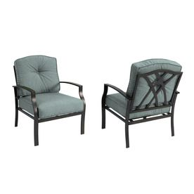 Garden Treasures Set Of 2 Cascade Creek Black Steel Patio Chairs With Solid  Blue Cushions