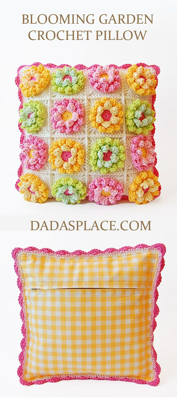 Blooming Garden Crochet Pillow by Dada's place