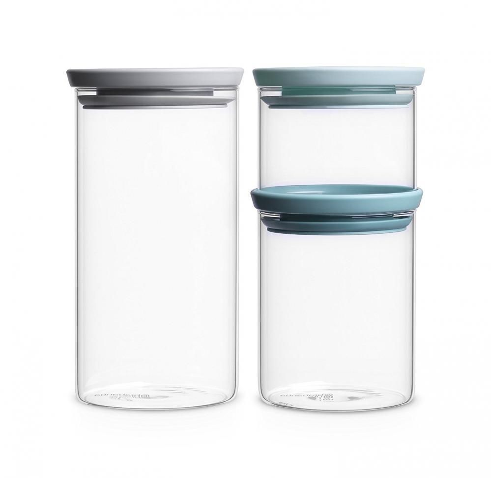 0273eba07665 Set of 3 Glass Jars Storage Canisters Containers Airtight Stackable ...