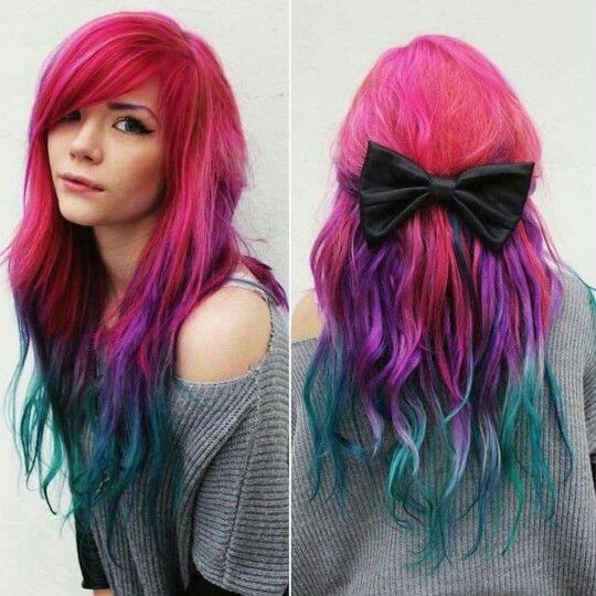 Pink Purple Blue Teal Hair Fox Hair Dye Mermaid Hair Color Dyed Hair