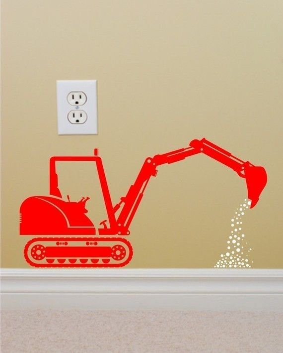 Vinyl Wall Decal Construction Backhoe Silhouette   The ...
