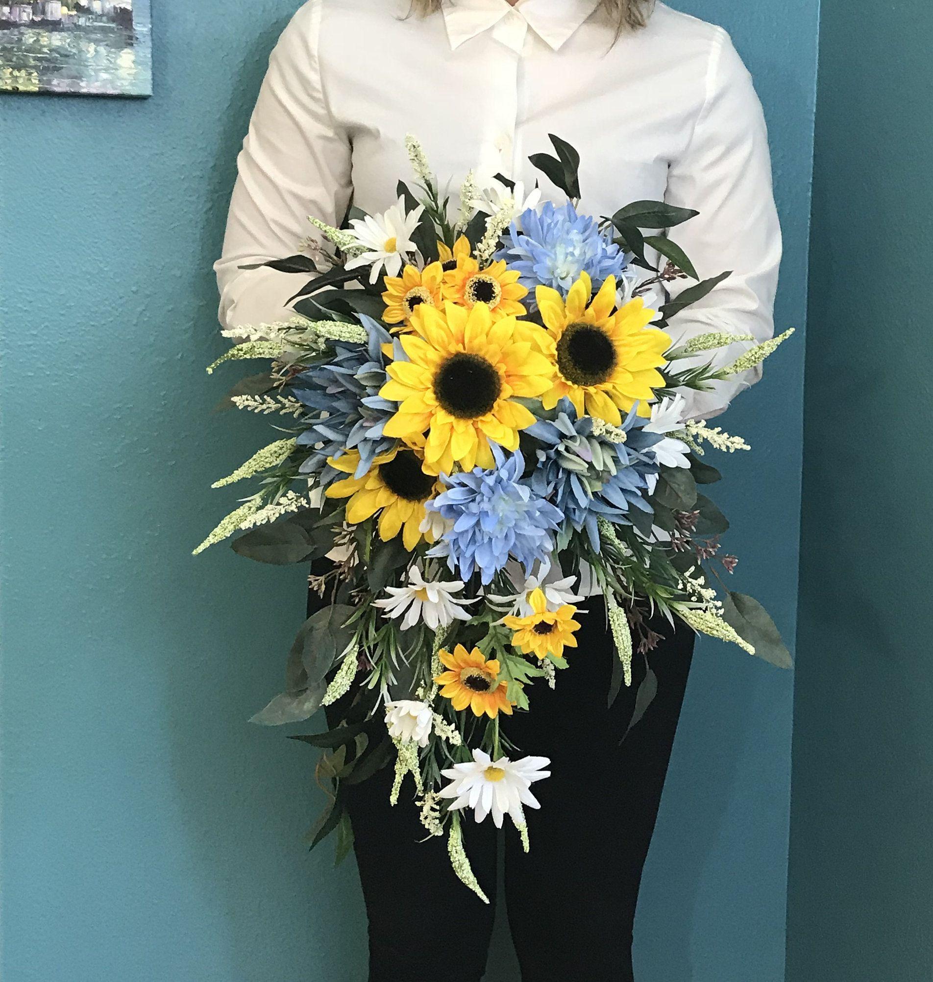 Dusty Blue Sunflower Cascading Bridal Bouquet Silk Blue Sunflower
