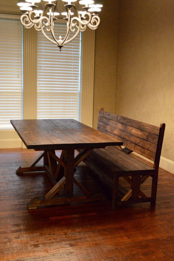 Matching Rustic Bench with Back by RnBWoodWorks on Etsy : kitchen table benches with backs - hauntedcathouse.org