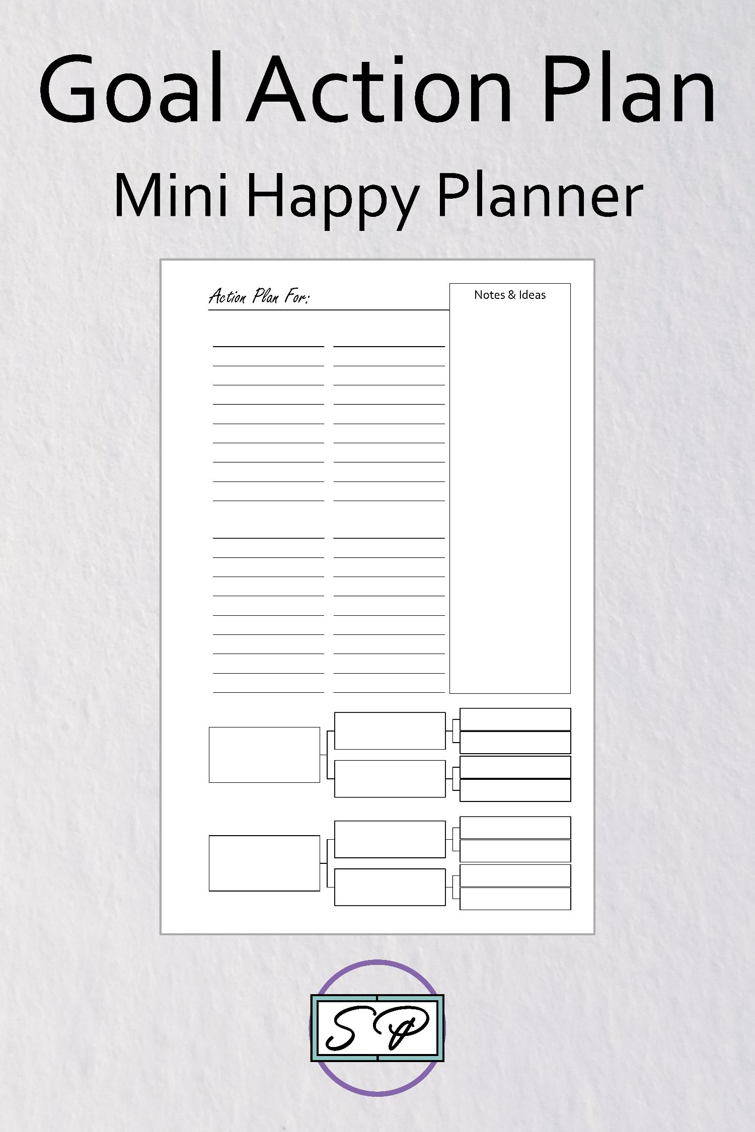 Goal Setting Action Plan Insert Mini Happy Planner Size