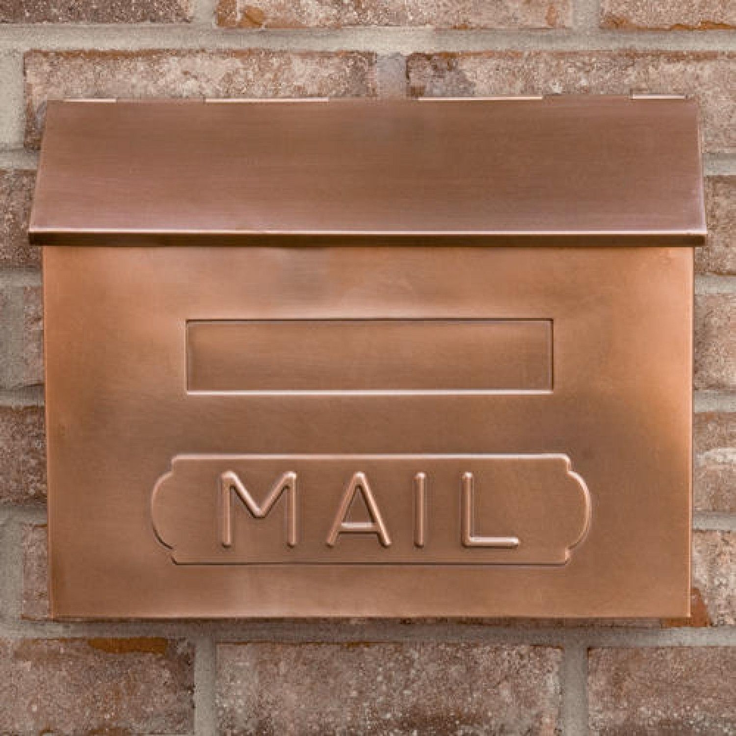 Horizontal Quot Mail Quot Wall Mount Copper Mailbox Antique