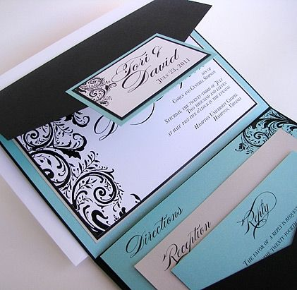 57L87 Pocket Fold Wedding Invitation | Renaissance Writings ...