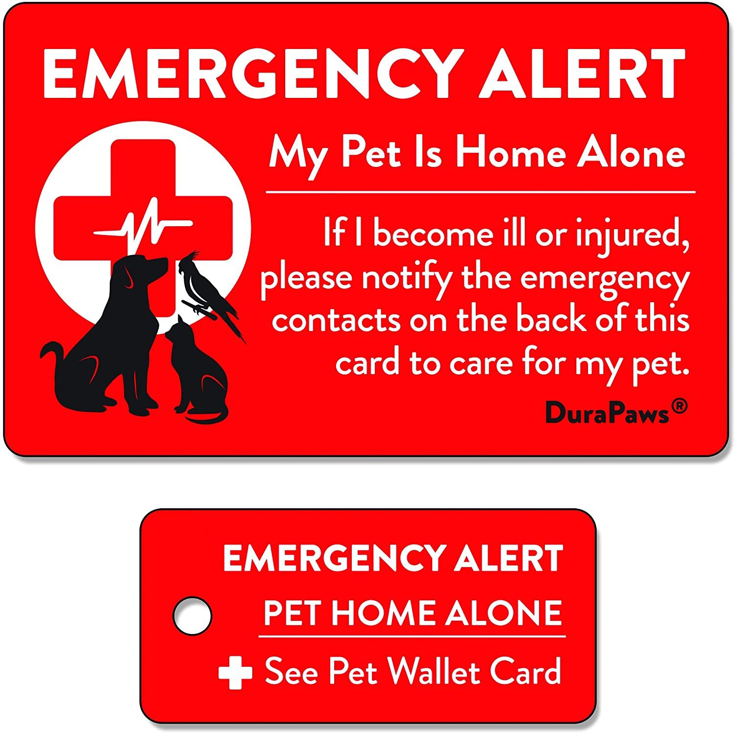 Durapaws Pets Dogs Cats Are Home Alone Alert Emergency Plastic Contact Wallet Card And Key Tag In 2020 Emergency Card Wallet Life Guide