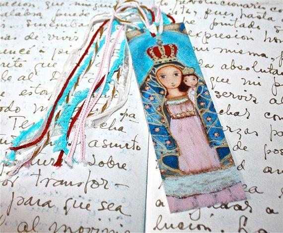 Our Lady of el Cobre   Laminated Bookmark  Handmade  by FlorLarios