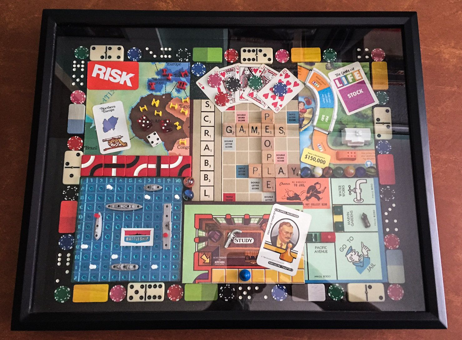 Vintage Board Games Assemblage Art Gameboard Art Game Room