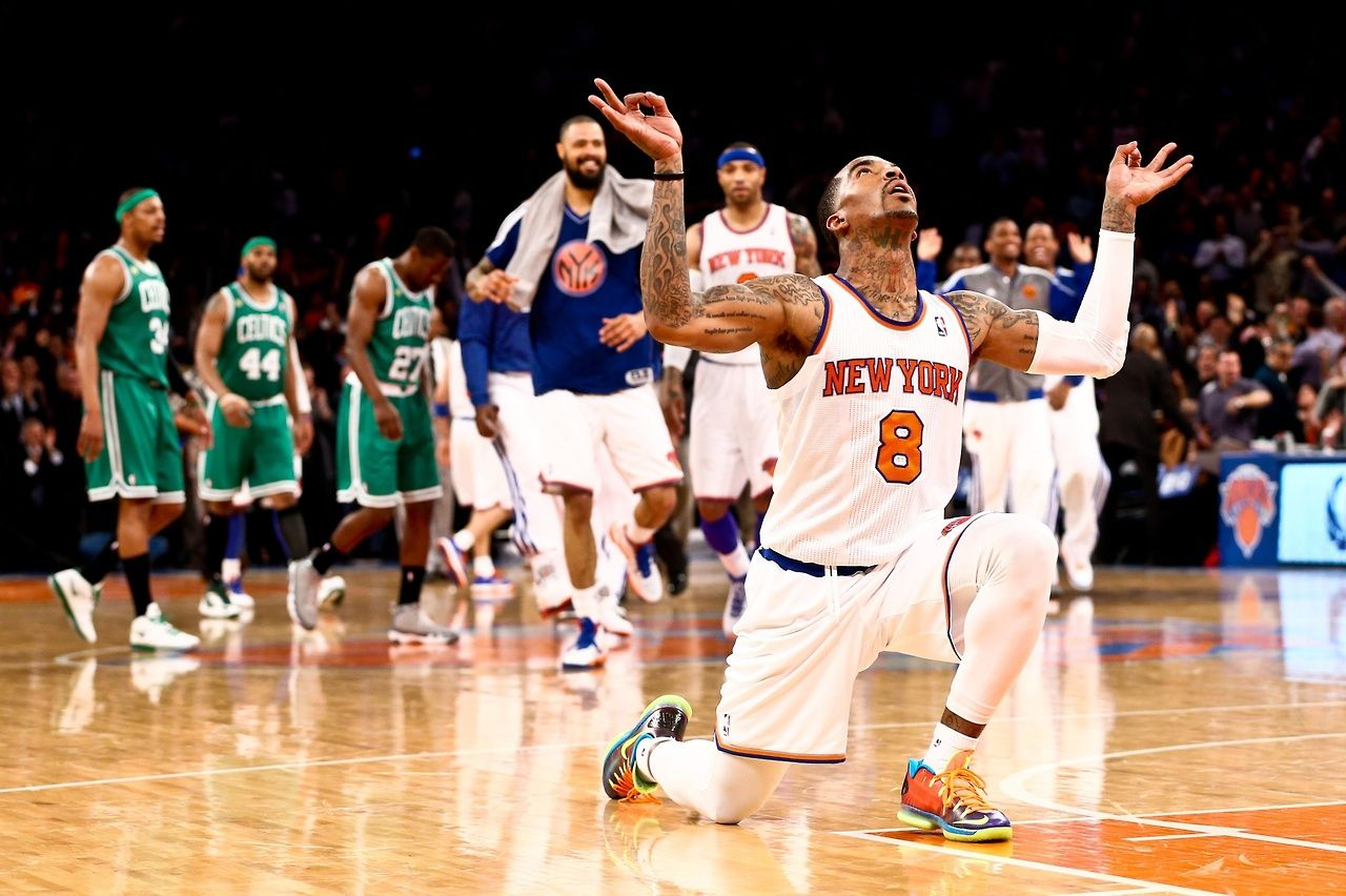 New York Knicks shooting guard J.R. Smith (8) celebrates after scoring a  three-pointer against the Boston Celtics during game two in… | Knicks, Nba  playoffs, Sports