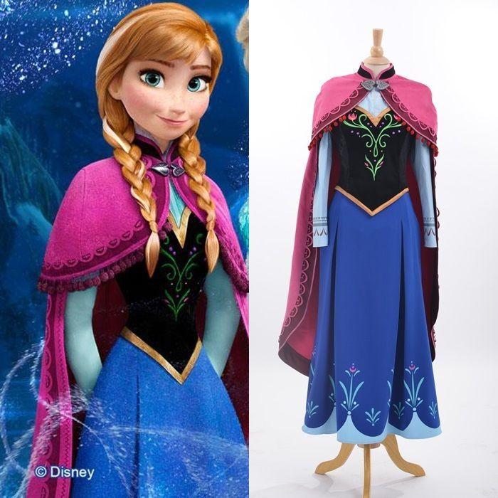 Disney Movie Frozen princess Anna cosplay costume Handmade Adult dress  Clothes