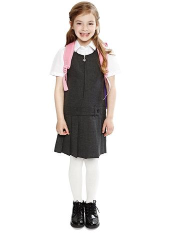 deb71b6171 Girls Charcoal Pleat Skirt School Pinafore Dress   models   School ...