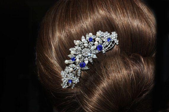 Royal Blue /& Ivory Pearl Hair comb Slide Handmade Bridal Bridesmaid Prom