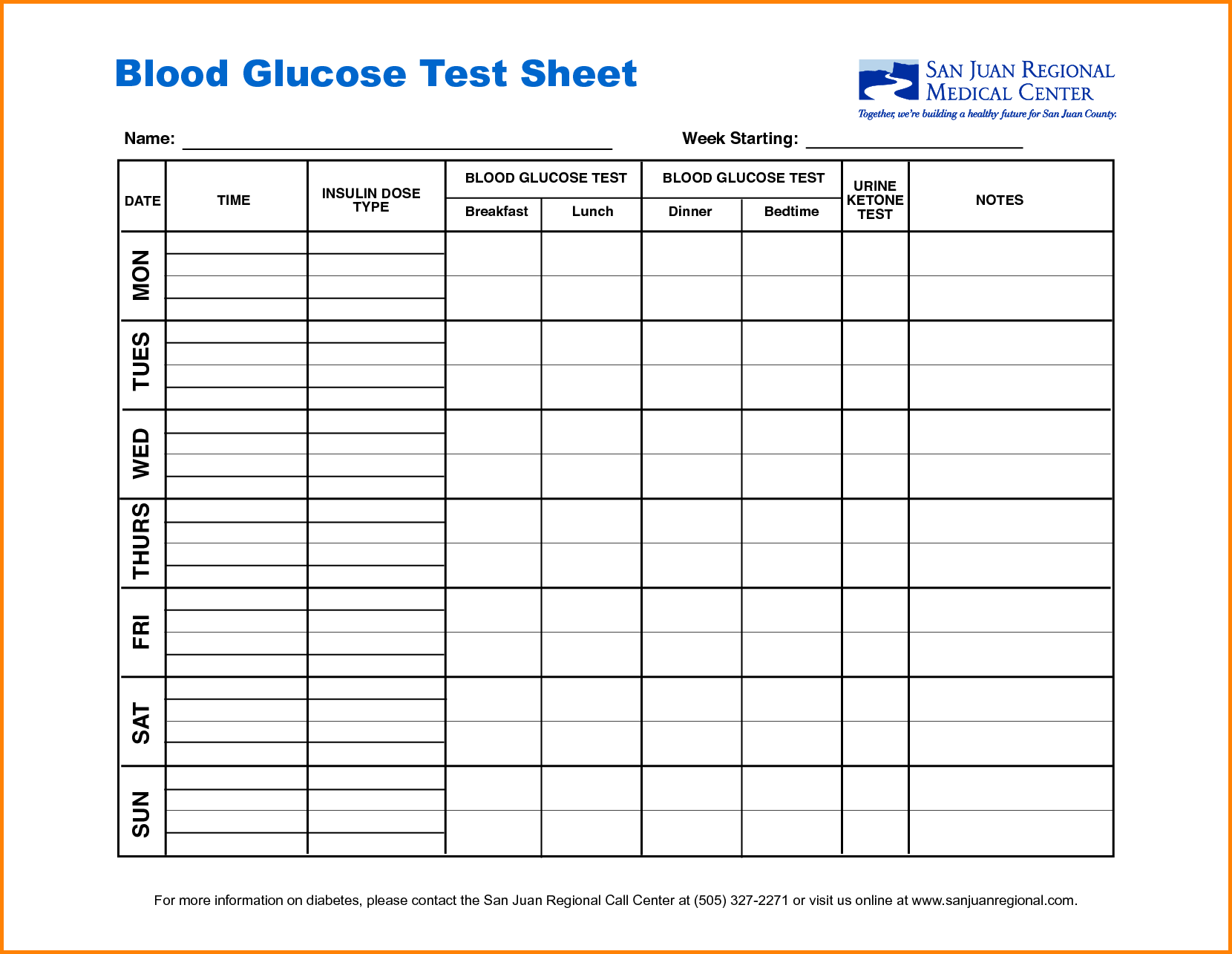 Sugar Blood Glucose Log Sheet