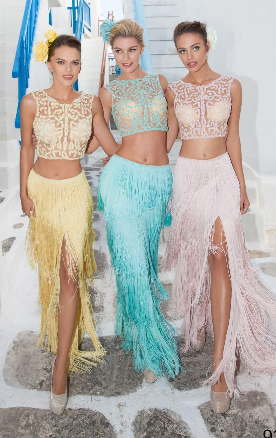 2016 Tassels Prom Dresses Sheath Side Split Two Pieces See Through ...