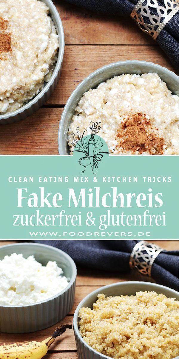 Fake Milchreis mit Quinoa Rezept. Gesund, glutenfrei, zuckerfrei, Clean Eating durch Pseudogetreide