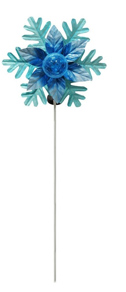 Solar Powered Rotating Christmas Flower with LED Glass ...