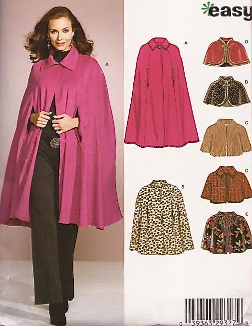 Plus Size CAPES & CAPELET Sewing Pattern - EASY Cape 5 Styles 5 ...