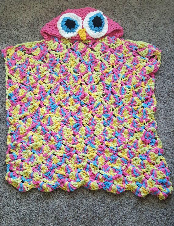 Con capucha buho manta buho crochet manta de buho almohada | Tejidos ...