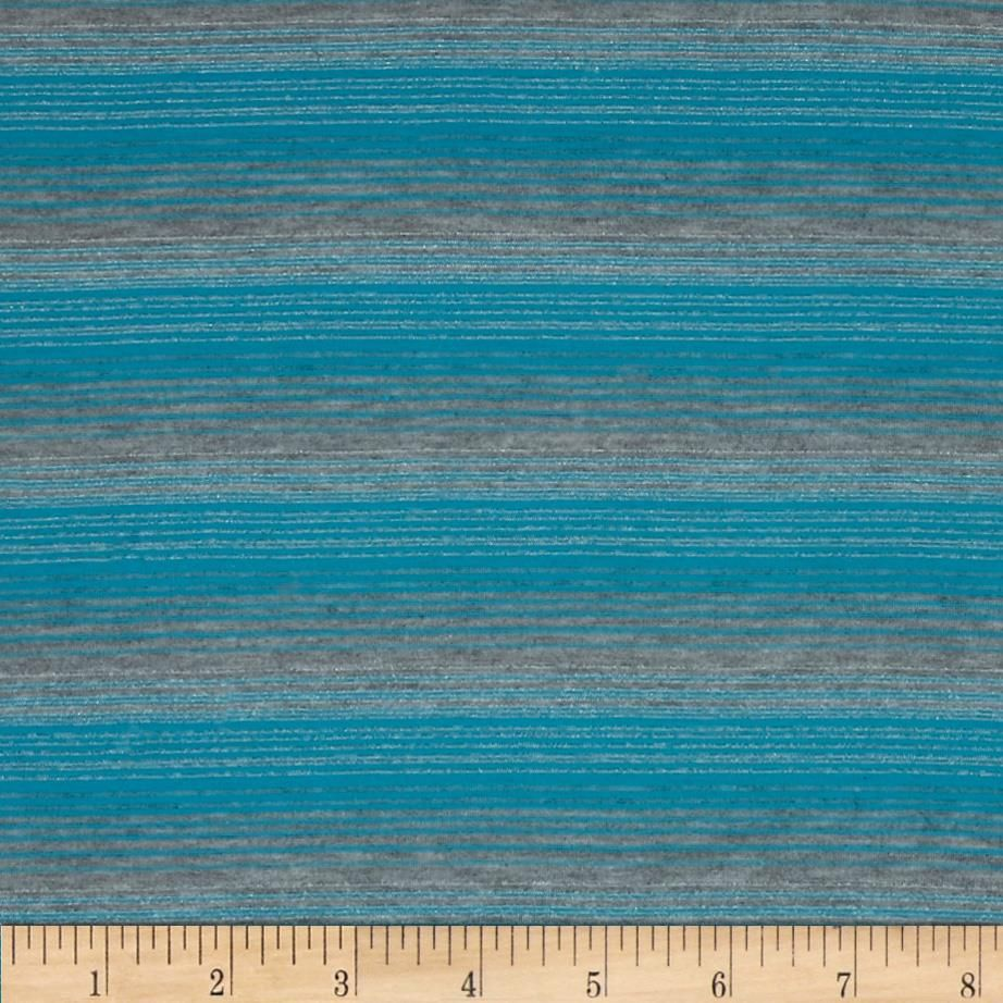 Jersey Knit Yarn Dyed Stripes Turquoise/Grey from @fabricdotcom  This yarn dyed jersey knit features a soft rayon like hand and 50% stretch across the grain with metallic lurex stripes. Use for t-shirts and more.