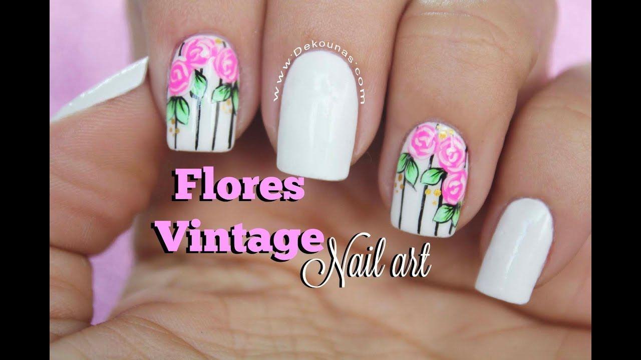 Diseo De Uas Rosas Vintage Vintage Flowers Nail Art Artes En