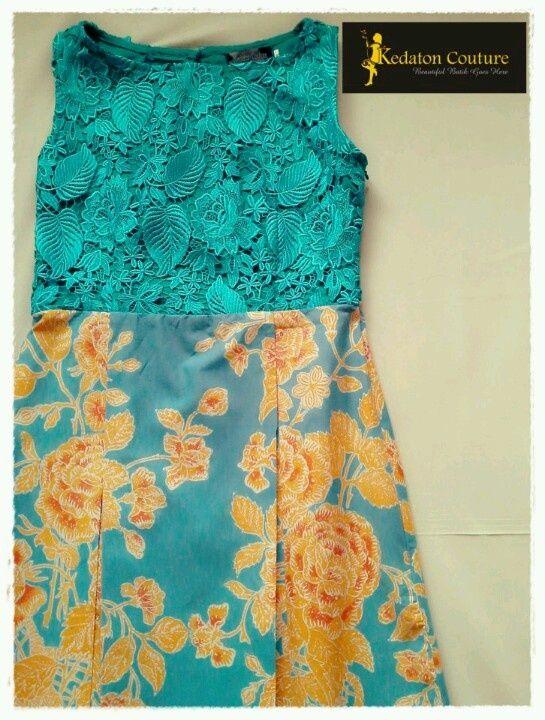 Desain long dress brokat kombinasi