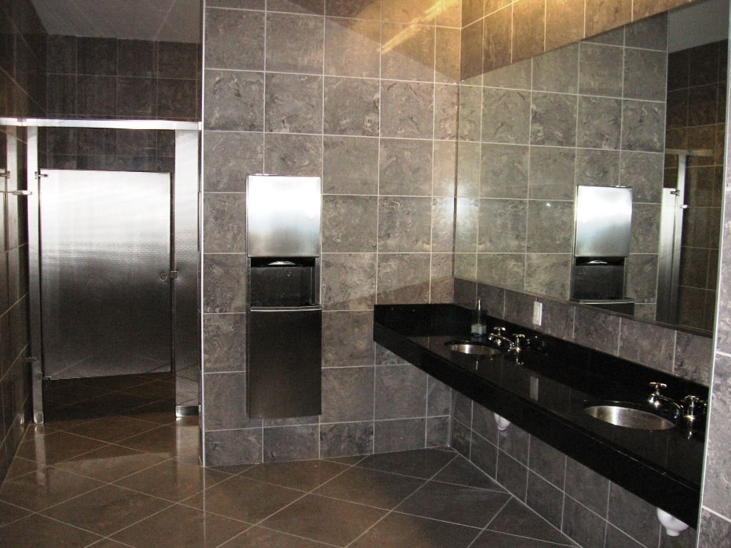 kitchen. designing luxurious bathroom with grey mozaic tile wall