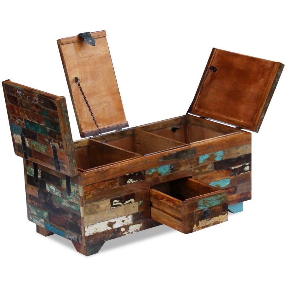 Chunky Coffee Table Industrial Vintage Blanket Large Rustic