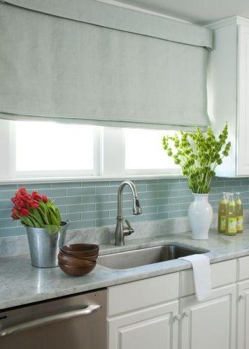 Liz Carroll InteriorsBeach House Kitchen Glass tile marble