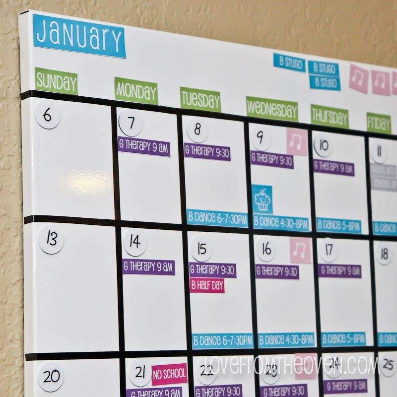 Calendar Whiteboard Ideas : Family magnetic white board calendar with free printable