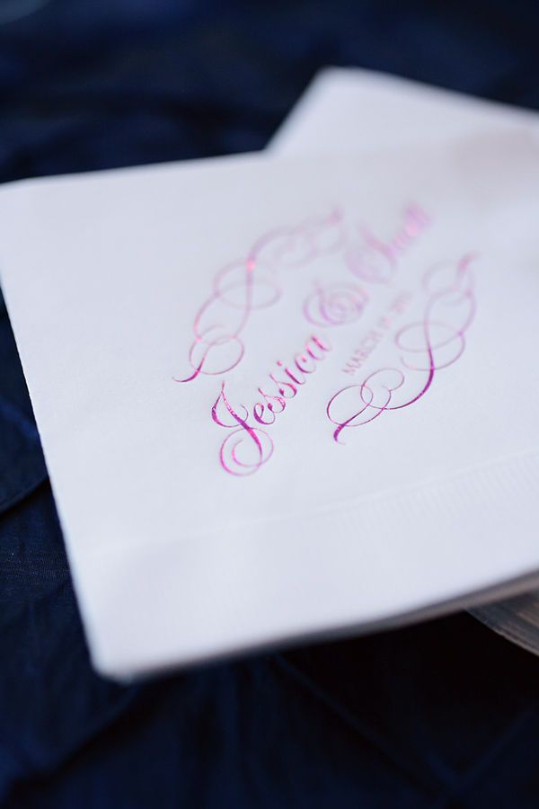 Our custom cocktail napkins were featured on Style Me Pretty! Click here to personalize wedding napkins.