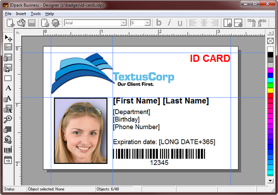 Idpack Business Id Card Software Is The Most Comprehensive And Flexible Id Card And Id Badge Design And P Id Card Template Employee Id Card Card Templates Free