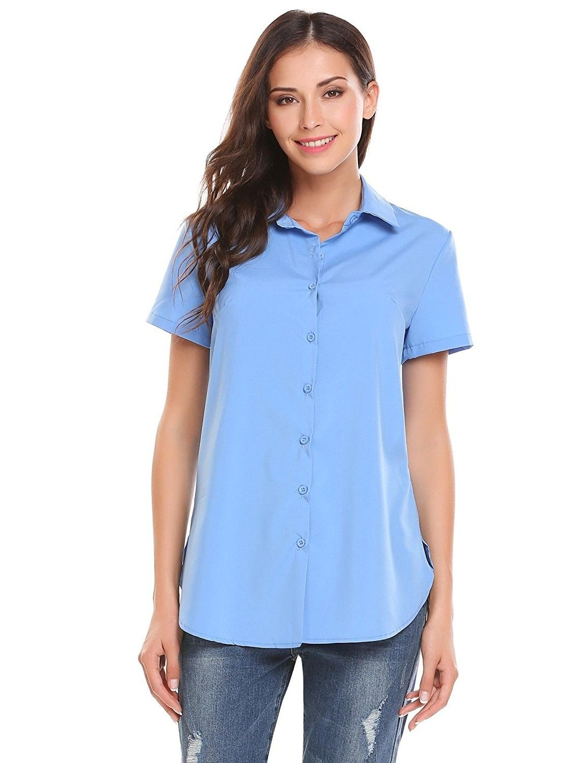 Women Short Sleeve Button-Down Shirt Basic Casual Tailored Blouse Tops -  Sky Blue - C9185W2D35Z | Tailored blouses, Fashion clothes women, Womens  shorts